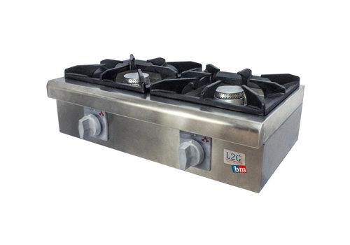L2G Réchaud à Gaz en Inox   L-635xP-360xH-227mm   2 Feux   6 + 6 kW
