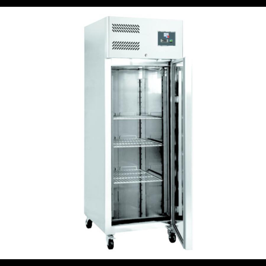 Armoire Réfrigérée Négative | Inox | L-740xP-830xH-2010mm | Porte Pleine | 650L | -18°C/-22°C | 4 Roues/2 Freins | R290