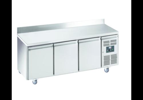 L2G Desserte Réfrigérée Ventilée en Inox avec Dosseret | L-1795xP-700xH-850/100mm | 3 Portes Pleines | 465L | R600a