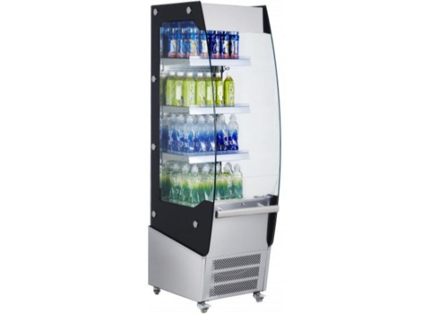Saro Meuble Réfrigérée Acier   220 Litres   3 Etages Réglables   Rideau de Nuit   494x600x1740(h)mm