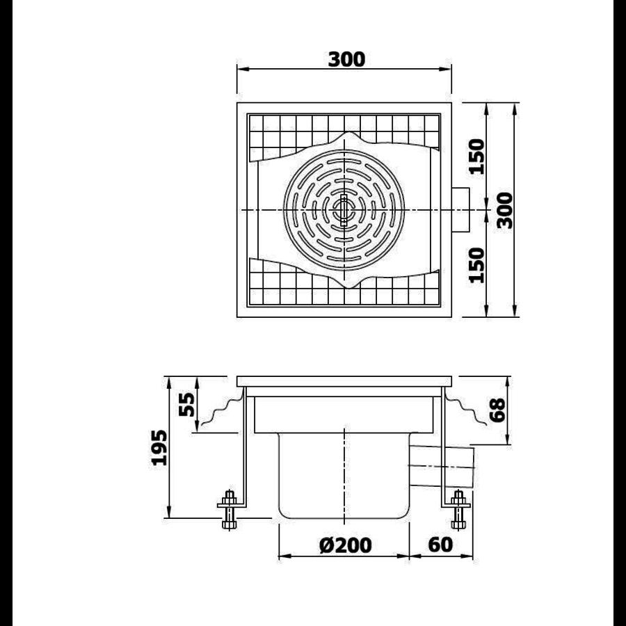 Caniveau de sol / 30*30*19,5 cm / En acier inoxydable