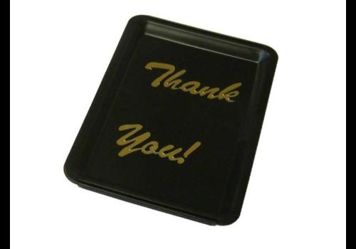 ProChef Plateau   avec Inscriptions 'Thank You'   Lettres Dorées   Noir   160x110x(h)15mm