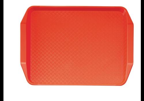 Cambro Plateau rectangulaire avec poignées en polypropylène Fast Food rouge | 43 cm