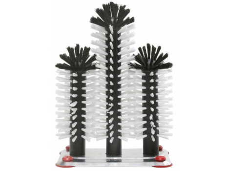 Bar Professional Brosse de Rinçage | Pied Aluminium | 3 Brosses | 180x250x180mm
