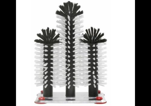 ProChef Brosse de Rinçage | Pied Aluminium | 3 Brosses | 180x250x180mm