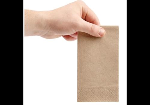 Serviettes snacking recyclées 2 plis pliage 1/8 | 330mm kraft | (lot de 2000)