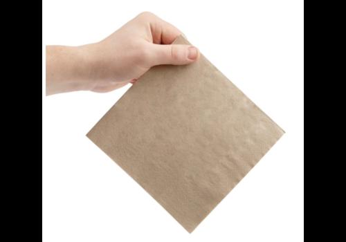 Serviettes snacking recyclées 2 plis pliage 1/4 | 330mm kraft | (lot de 2000)