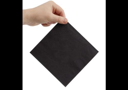 Serviettes snacking 2 plis pliage 1/4 | 330mm noires | (lot de 2000)