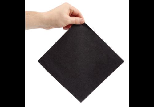 ProChef Serviettes dîner 2 plis format 1/4 | 400mm noires | (lot de 2000)