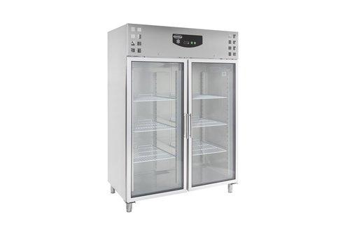 ProChef Réfrigérateur   2 portes vitrées   acier inoxydable   Verrouillable