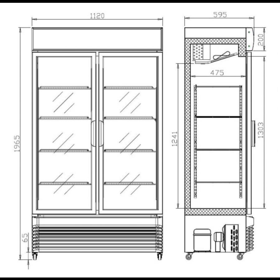 Armoire à Boisson 2 Portes Vitrées Coulissantes 750 L