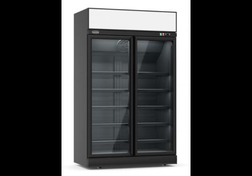ProChef Réfrigérateur noir | 2 portes en verre | 1253x710x2092mm