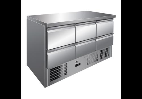 ProChef Table réfrigérée | 6 tiroirs acier inoxydable | refroidissement forcé