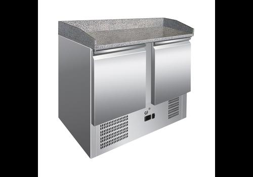 ProChef Table réfrigérée 2 portes | plan de travail en marbre | refroidissement forcé
