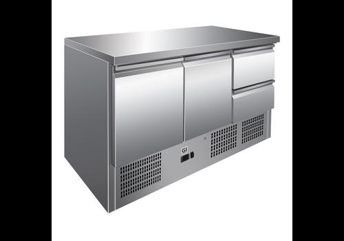 ProChef Table réfrigérée | 2-portes et 2 tiroirs acier inoxydable | refroidissement forcé