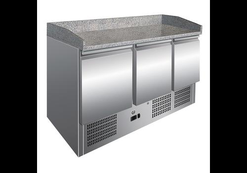 ProChef Table réfrigérée 3 portes | plan de travail en marbre | refroidissement forcé