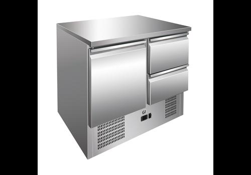 ProChef table réfrigérée 1-porte | 2 tiroirs acier inoxydable | refroidissement forcé