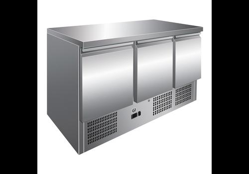 ProChef Table réfrigérée 3 portes acier inoxydable, refroidissement forcé