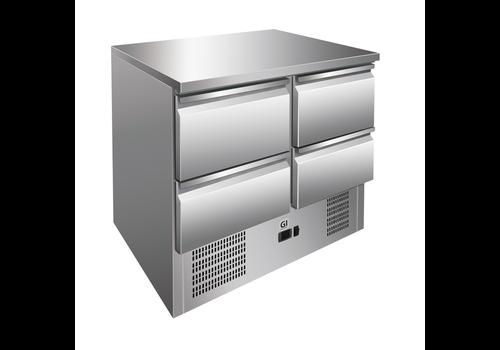 ProChef Table réfrigérée | 4 tiroirs acier inoxydable | refroidissement forcé