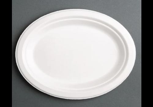 ProChef Assiettes rondes compostables en bagasse coloris naturel | quatre tailles | (lot de 50)