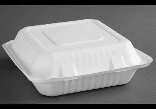 ProChef Boîtes avec couvercle à charnière compostables en bagasse | deux tailles | (lot de 200)
