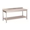 ProChef Acier inoxydable table de travail avec étagère et bord releve   700(l)x700(d)x850(h)mm.