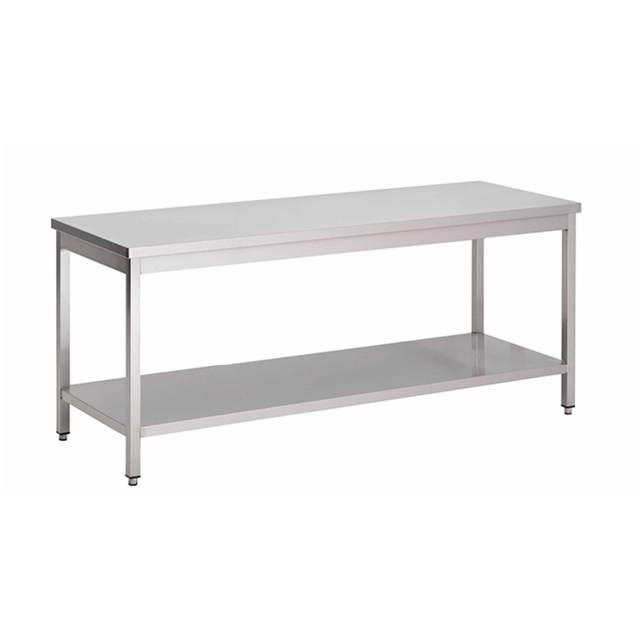 acier inoxydable table de travail avec étagère, 1300(l)x700(d)x850(h)mm.