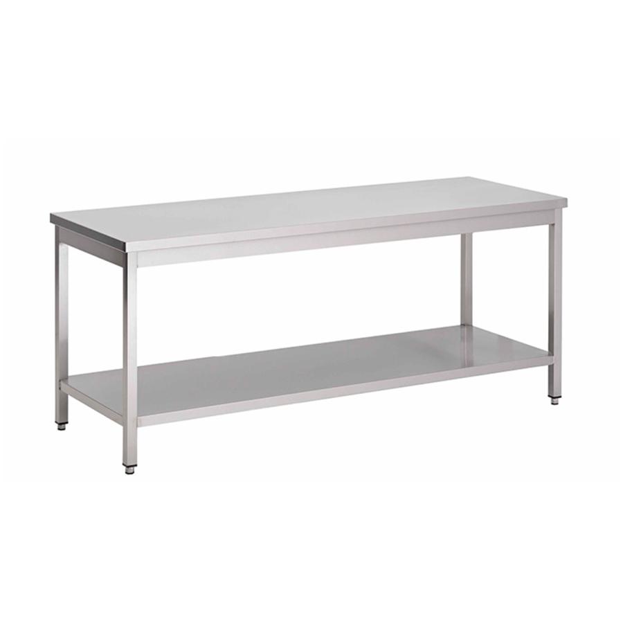 acier inoxydable table de travail avec étagère, 1400(l)x700(d)x850(h)mm.