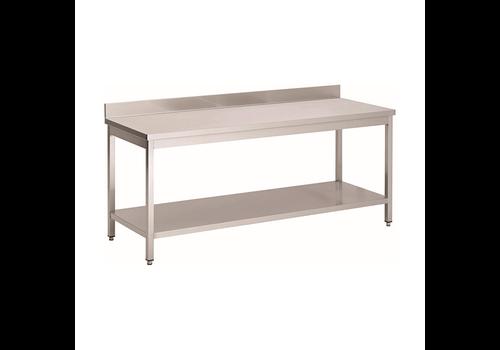 ProChef Acier inoxydable table de travail avec étagère et bord releve | 1300(l)x700(d)x850(h)mm