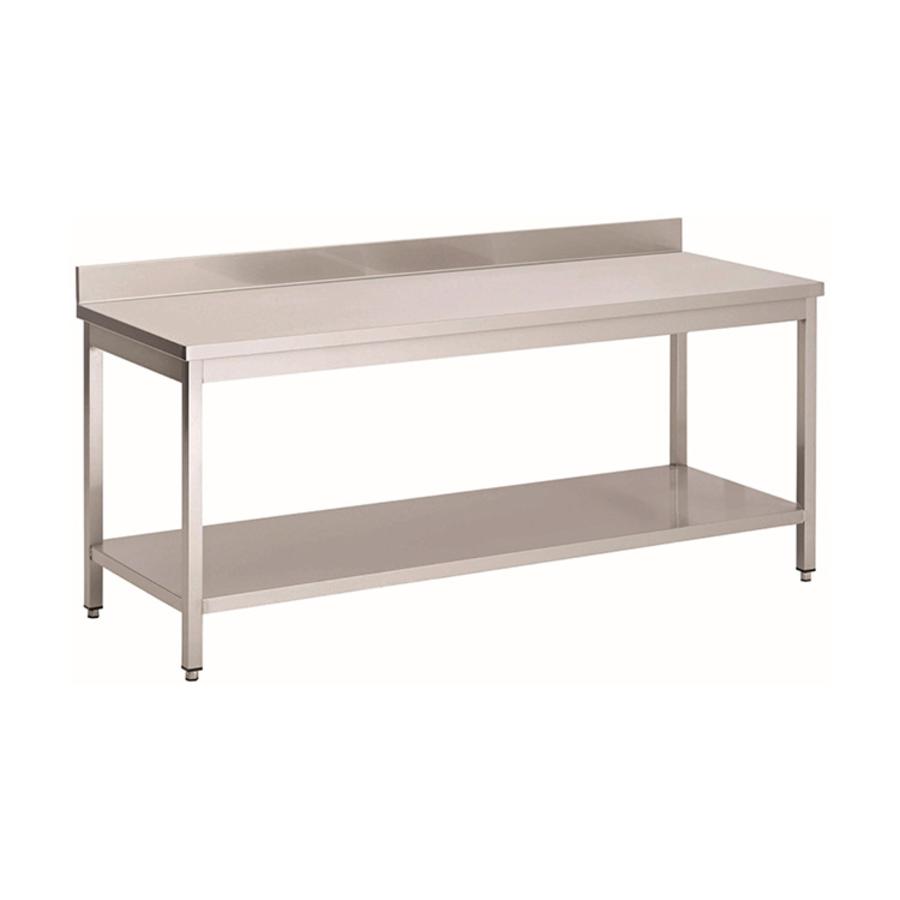 Acier inoxydable table de travail avec étagère et bord releve | 1300(l)x700(d)x850(h)mm