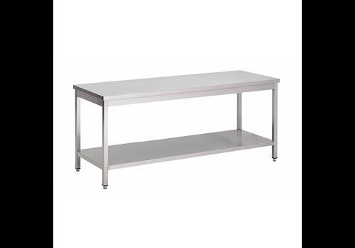 ProChef acier inoxydable table de travail avec étagère, 2000(l)x700(d)x850(h)mm.