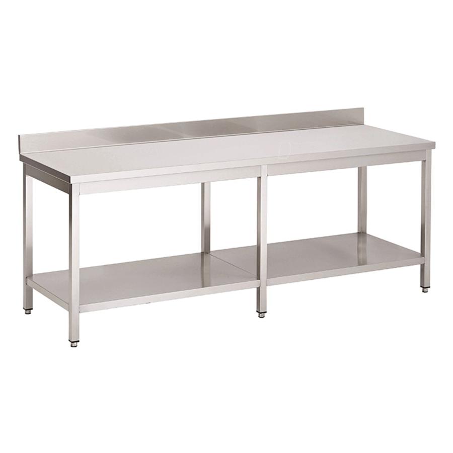 Acier inoxydable table de travail avec étagère et bord releve | 2200(l)x700(d)x850(h)mm