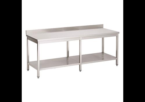ProChef Acier inoxydable table de travail avec étagère et bord releve | 2500(l)x700(d)x850(h)mm