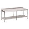 ProChef Acier inoxydable table de travail avec étagère et bord releve | 2600(l)x700(d)x850(h)mm
