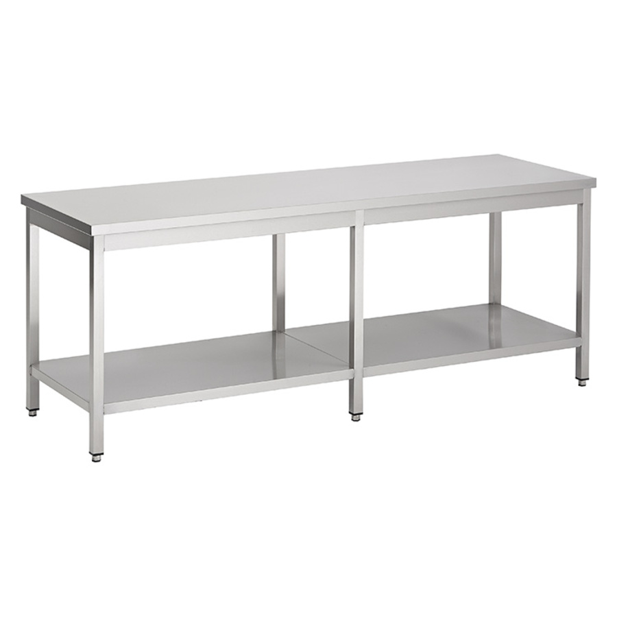 acier inoxydable table de travail avec étagère, 2100(l)x700(d)x850(h)mm.
