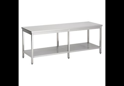 ProChef acier inoxydable table de travail avec étagère, 2400(l)x700(d)x850(h)mm.