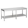 ProChef acier inoxydable table de travail avec étagère, 2700(l)x700(d)x850(h)mm.