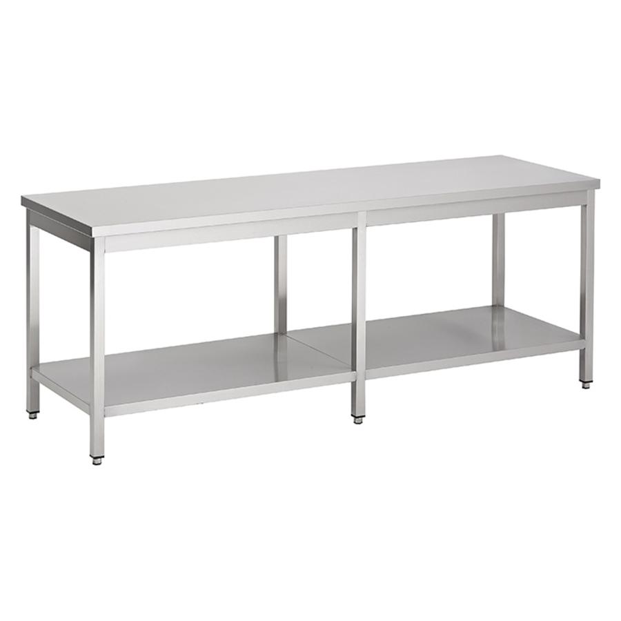 acier inoxydable table de travail avec étagère, 2800(l)x700(d)x850(h)mm.
