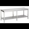 acier inoxydable table de travail avec étagère