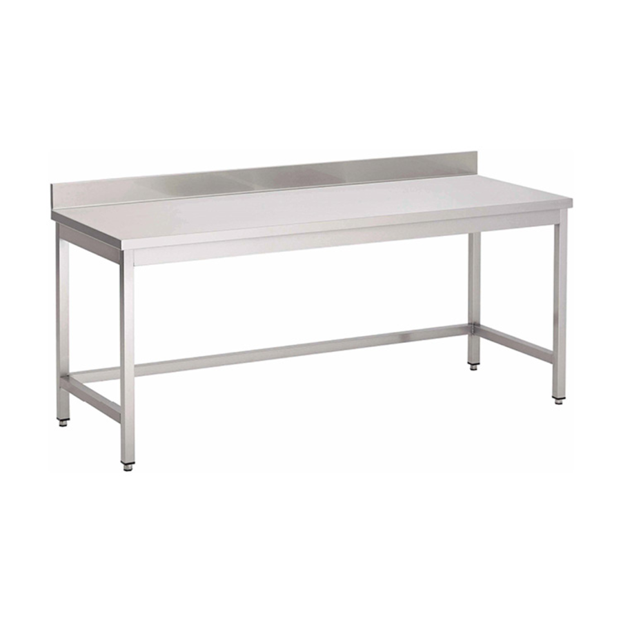 Acier inoxydable table de travail avec étagère et bord releve