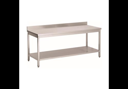 ProChef acier inoxydable table de travail avec étagère et bord releve