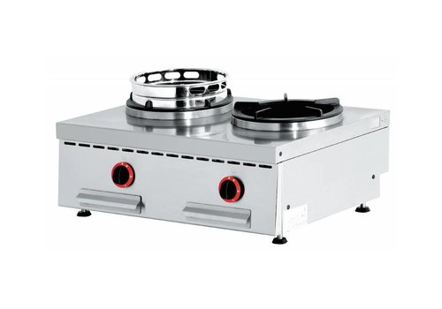 Diamond Feu wok gaz de Comptoir   2 feux   2 x 15kW   80(L)x60(P)x27,5(H)
