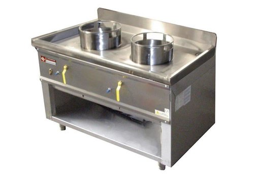 Diamond Fourneau wok   2 brûleurs armoire ouverte   23kW