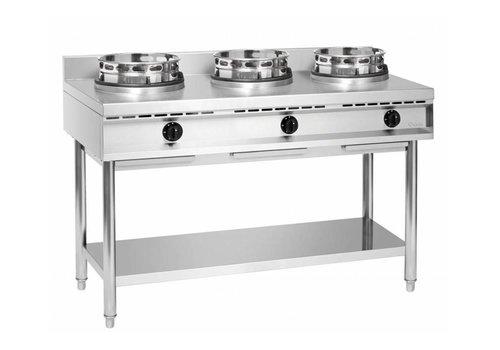 Bartscher Cuisinière à Wok Inox   3 Brûleurs   34,5kW   150x60x96(h)cm
