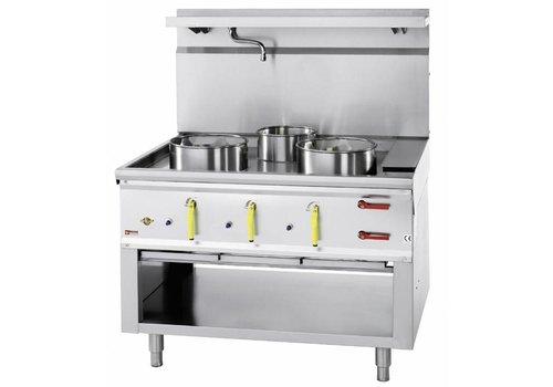 ProChef Fourneau wok   3 brûleurs avec rideau d'eau   2 x 23kW   1 x 11kW