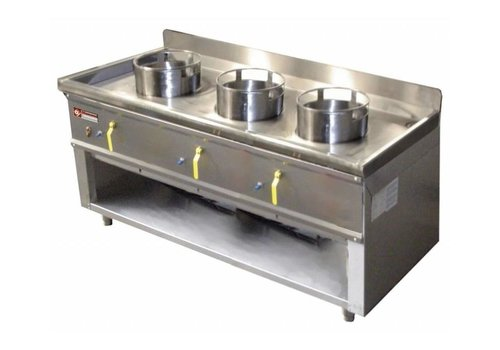 Diamond Fourneau wok 3 brûleurs armoire ouverte   23kW