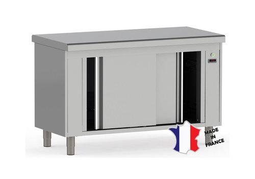 Sofinor meuble étuve ventilé   Inox   dessus central EP 15/10ieme   à bords rayonnes   120(l)x70x90cm   pieds inox