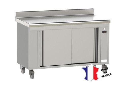 Sofinor meuble étuve ventilé   Inox   dessus à dosseret EP 15/10ieme   à bords rayonnes   sur roulettes   120(l)x70x90cm