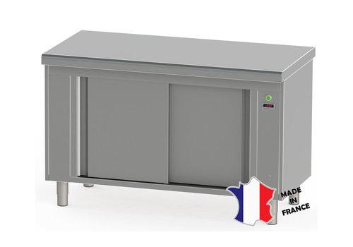 Sofinor meuble étuve ventilé | Inox | dessus central EP 15/10ieme | à bords rayonnes | sur roulettes | 120(l)x70x90cm