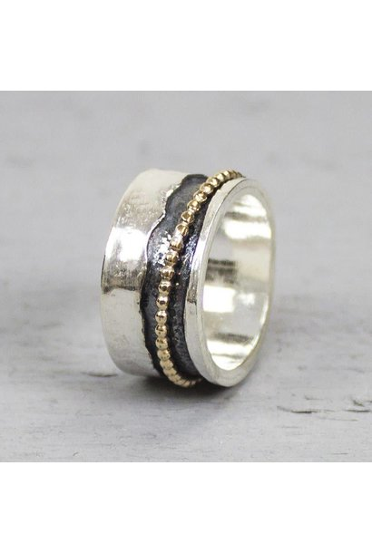 Ring zilver + Goldfilled 18692